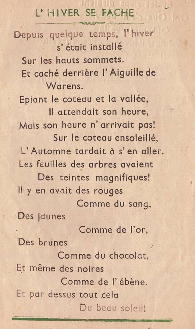 Journal scolaire de Passy, « Face au Mont-Blanc », novembre-décembre 1947  p. 9 L'hiver se fâche