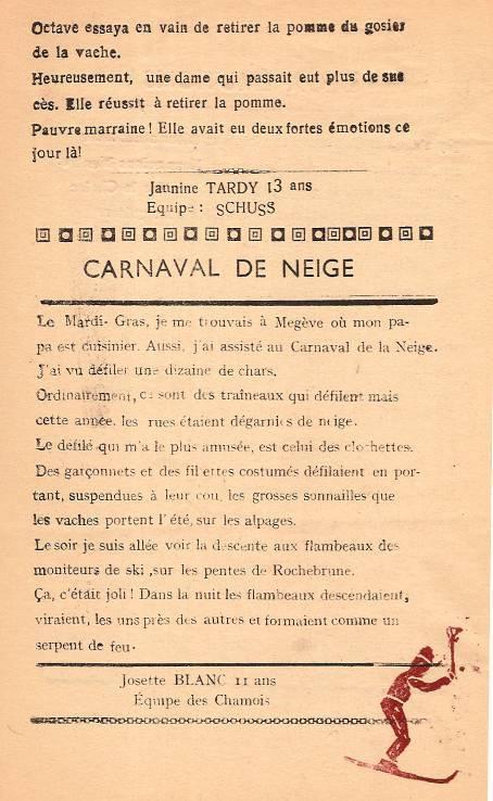 Journal scolaire de Passy, « Face au Mont-Blanc », janvier-février-mars 1948 p. 10 Carnaval de neige (à Megève), par Josette Blanc, 11 ans