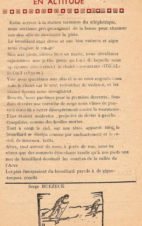 Journal scolaire de Passy, « Face au Mont-Blanc », janvier-février-mars 1948,  p. 15 En altitude, par Serge Buezeck