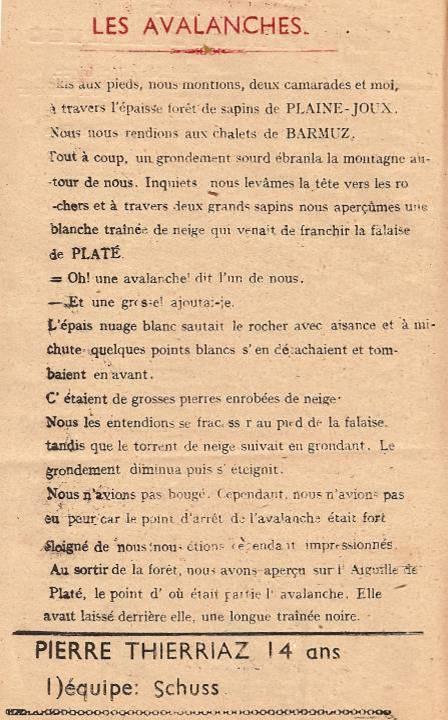 Journal scolaire de Passy, « Face au Mont-Blanc », Janvier-février-mars 1948 p. 16 Les avalanches, par Pierre Thierriaz, 14 ans