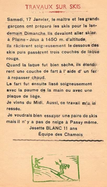 Journal scolaire de Passy, « Face au Mont-Blanc », janvier-février-mars 1948,  p. 2 Travaux sur skis, par Josette Blanc, 11 ans