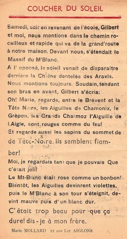 Journal scolaire de Passy, « Face au Mont-Blanc », janvier-février-mars 1948 p. 6 Coucher de soleil, par Marie Mollard, 11 ans