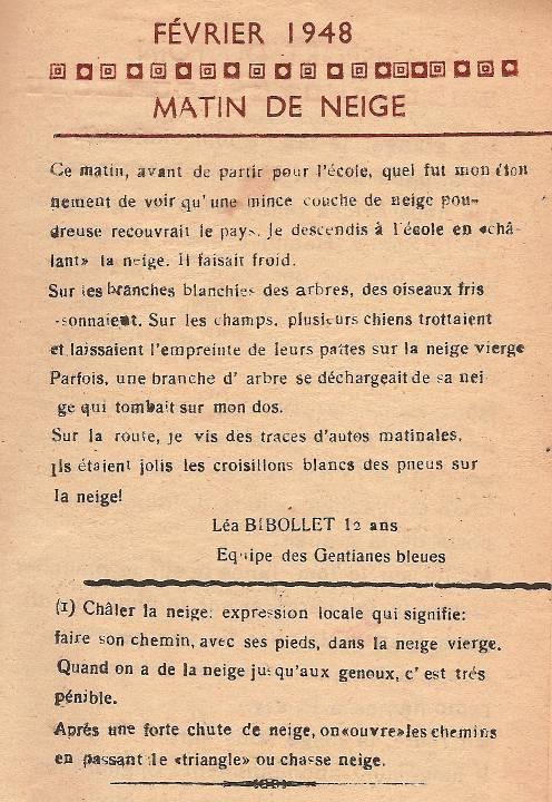 Journal scolaire de Passy, « Face au Mont-Blanc », janvier-février-mars 1948, p. 7 Février 1948 Matin de neige, par Léa Bibollet, 12 ans