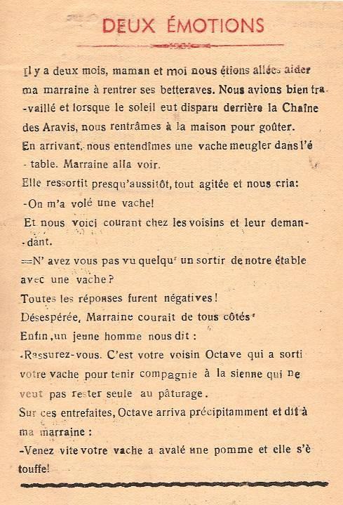 Journal scolaire de Passy « Face au Mont-Blanc », janvier 1948, p. 9, par Jannine Tardy, 13 ans