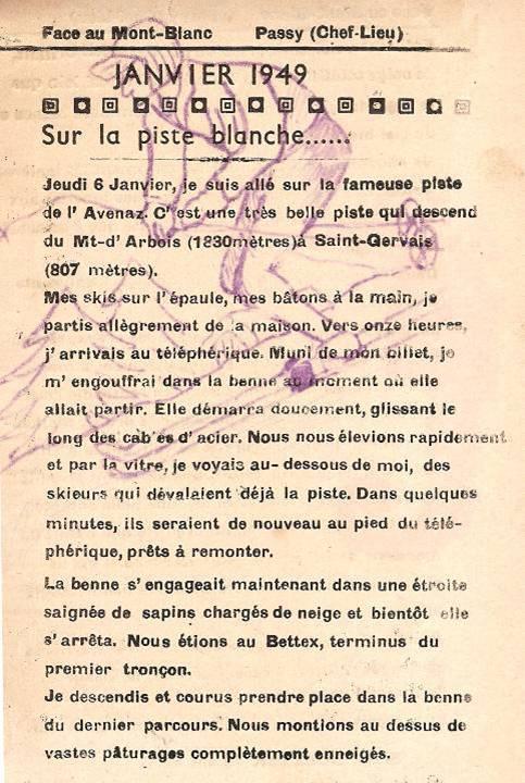 Journal scolaire de Passy, « Face au Mont-Blanc », décembre 1948 - janvier 1949, p. 5 Janvier 1949 : Sur la piste blanche…, par Serge Buezeck, 13 ans ½