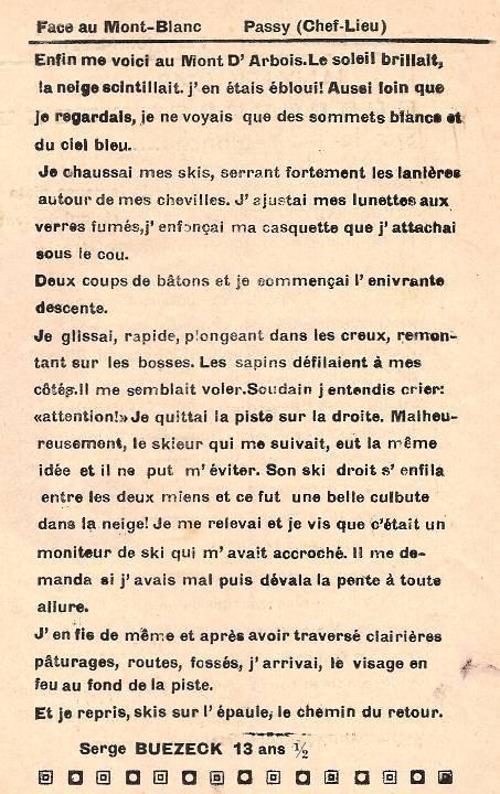 Journal scolaire de Passy, « Face au Mont-Blanc », décembre 1948 - janvier 1949, p. 6 Janvier 1949 : Sur la piste blanche…, par Serge Buezeck, 13 ans ½