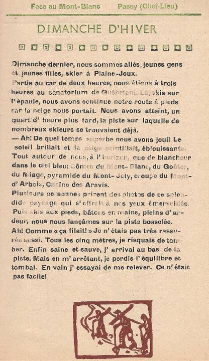 Journal scolaire de Passy, « Face au Mont-Blanc », février 1949, p. 1, Dimanche d'hiver, par Gisèle Furst, 13 ans