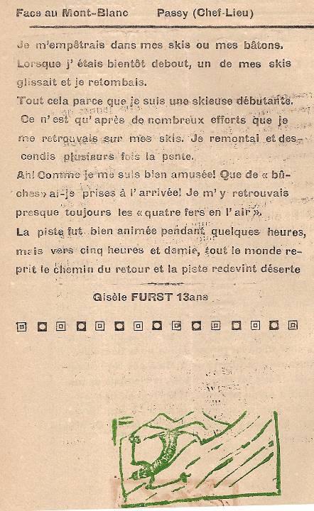 Journal scolaire de Passy, « Face au Mont-Blanc », février 1949, p. 2 Dimanche d'hiver, par Gisèle Furst, 13 ans