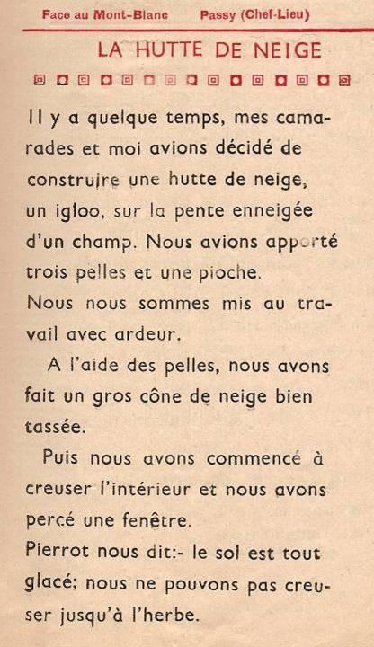 Journal scolaire de Passy, « Face au Mont-Blanc », février 1949, p. 3, La hutte de neige, par Albert Kubiki, 11 ans