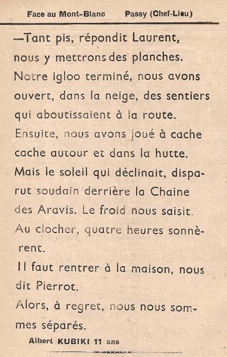Journal scolaire de Passy, « Face au Mont-Blanc », février 1949, p. 4 La hutte de neige, par Albert Kubiki, 11 ans
