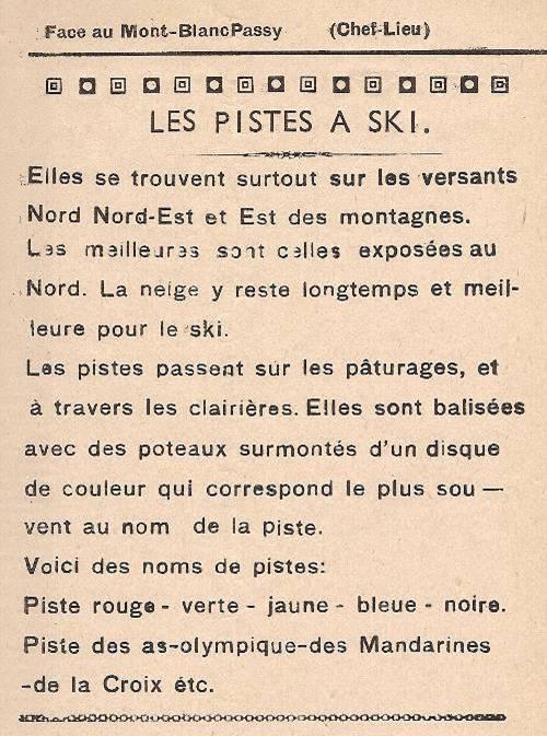 Journal scolaire de Passy, « Face au Mont-Blanc », février 1949, p. 7 Les pistes à ski
