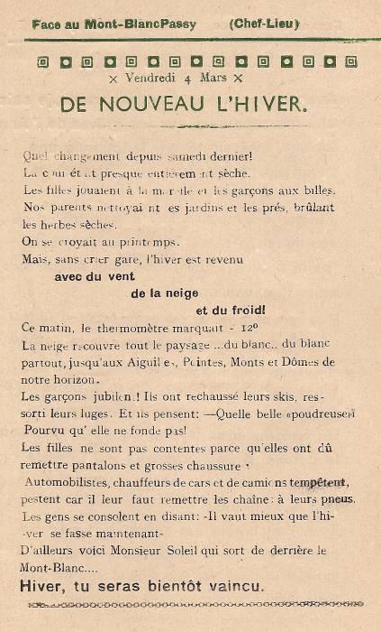 Journal scolaire de Passy, « Face au Mont-Blanc », mars 1949, p. 1