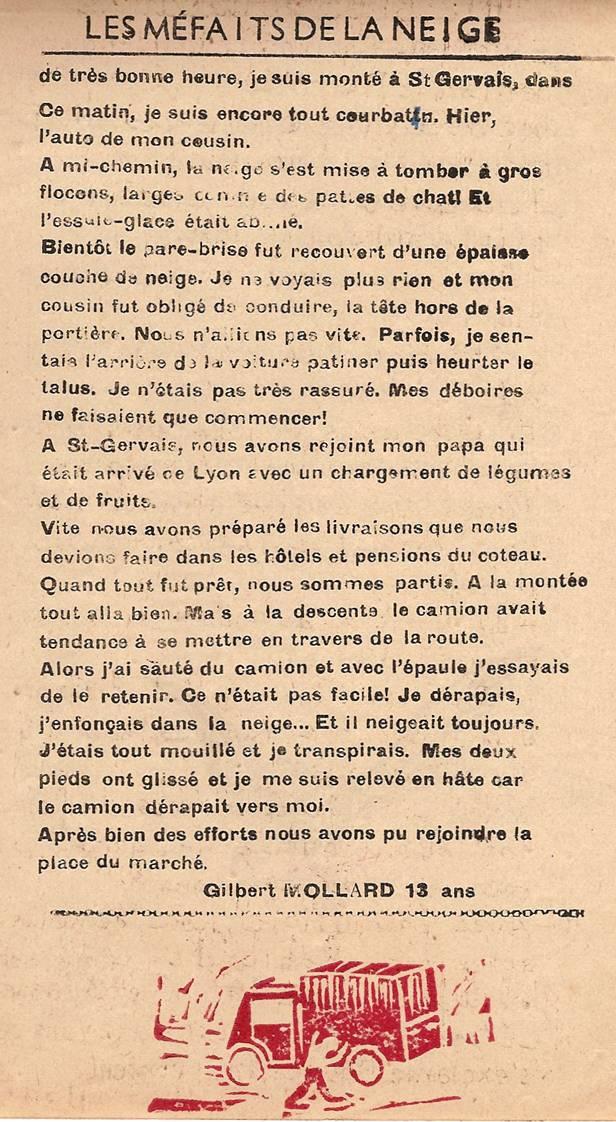 Journal scolaire de Passy, « Face au Mont-Blanc », février 1950, p. 1 Les méfaits de la neige, par Gilbert Mollard, 13 ans