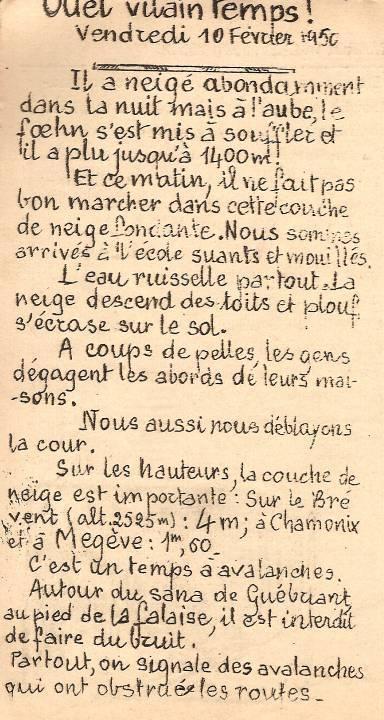 Journal scolaire de Passy, « Face au Mont-Blanc », Février 1950, p. 3 Quel vilain temps ! Bernard Riou, 13 ans 6 mois