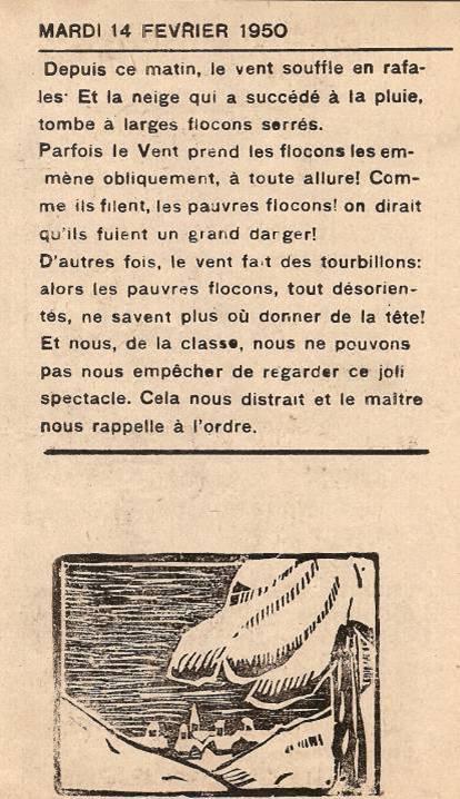 Journal scolaire de Passy, « Face au Mont-Blanc », février 1950 p. 4 Mardi 14 février 1950