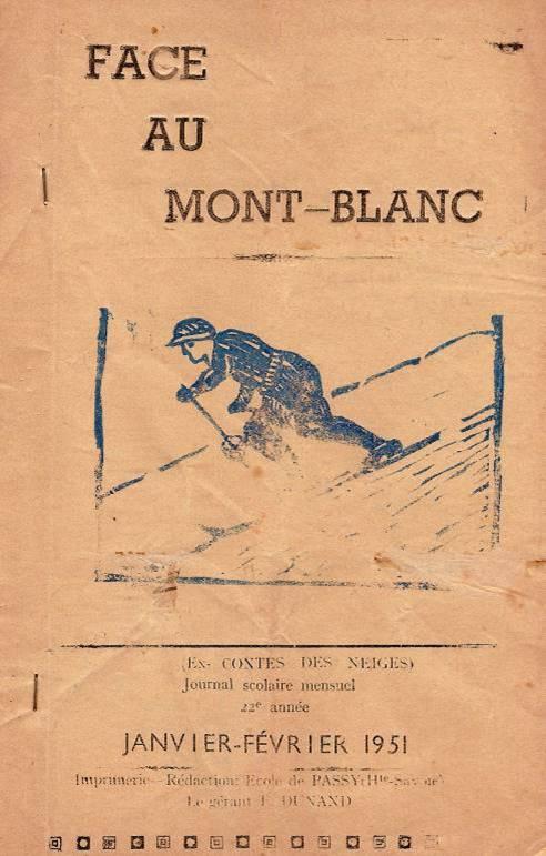 Couverture du journal scolaire de Passy, « Face au Mont-Blanc », janvier-février 1951
