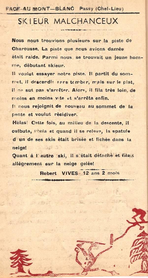 Journal scolaire de Passy, « Face au Mont-Blanc », janvier-février 1951, p. 10 Skieur malchanceux, par Robert Vives, 12 ans 2 mois