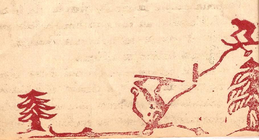 Linogravure du journal scolaire de Passy, « Face au Mont-Blanc », janvier-février 1951, p. 10