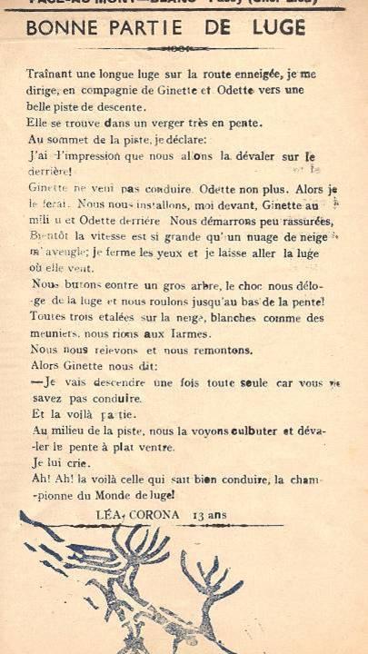 Journal scolaire de Passy, « Face au Mont-Blanc », janvier-février 1951, p. 1 Bonne partie de luge, par Léa Corona, 13 ans