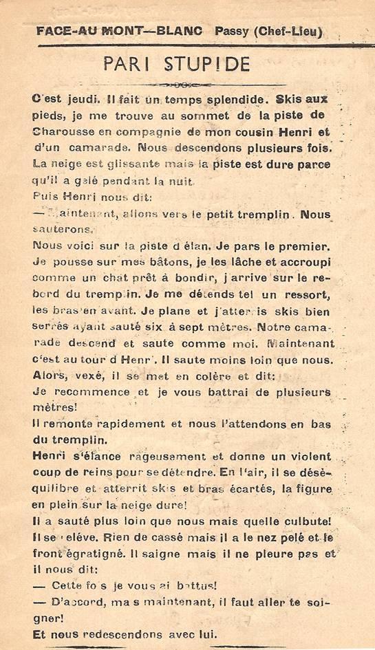 Journal scolaire de Passy, « Face au Mont-Blanc », janvier-février 1951, p. 2 Pari stupide, par Georges Grosset, 14 ½