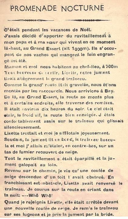 Journal scolaire de Passy, « Face au Mont-Blanc », janvier 1951, p. 3, Promenade nocturne, par Georges Grosset, 14 ½ ans