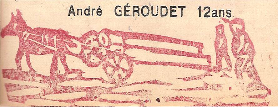 Linogravure du Journal scolaire de Passy, « Face au Mont-Blanc », janvier-février 1951, p. 5 Descente du bois en hiver, par André Géroudet, 12 ans