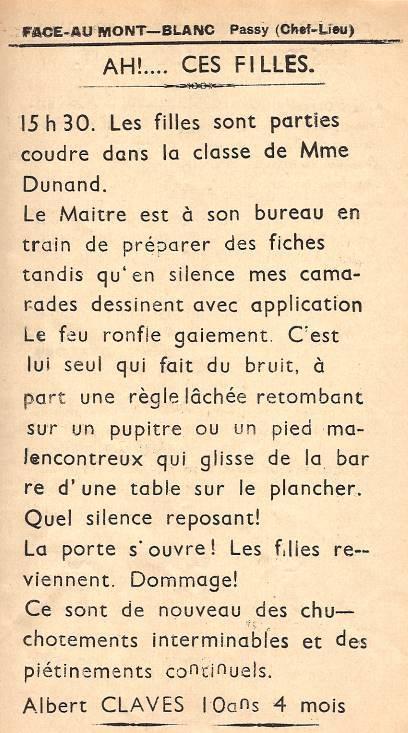 Journal scolaire de Passy, « Face au Mont-Blanc », janvier-février 1951, p. 7 Ah ! ces filles !