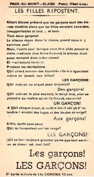 Journal scolaire de Passy, « Face au Mont-Blanc », janvier-février 1951, p. 8 Riposte des filles, d'après le texte de Léa Corona, 13 ans