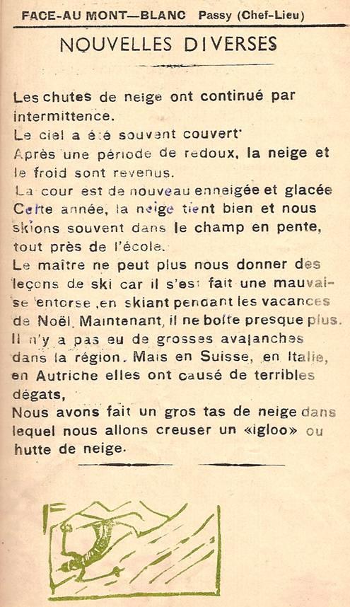 Journal scolaire de Passy, « Face au Mont-Blanc », janvier-février 1951 p. 9 Nouvelles diverses