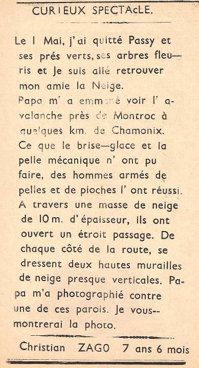 Journal scolaire de Passy, « Face au Mont-Blanc », mars 1951 p. 4 Curieux spectacle, par Christian Zago, 7 ans 6 mois