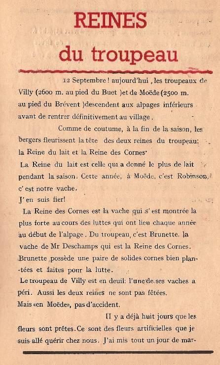 Journal scolaire de Passy « Face au Mont-Blanc », octobre 1947, p. 5, Reines du troupeau, par Pierre Thierriaz