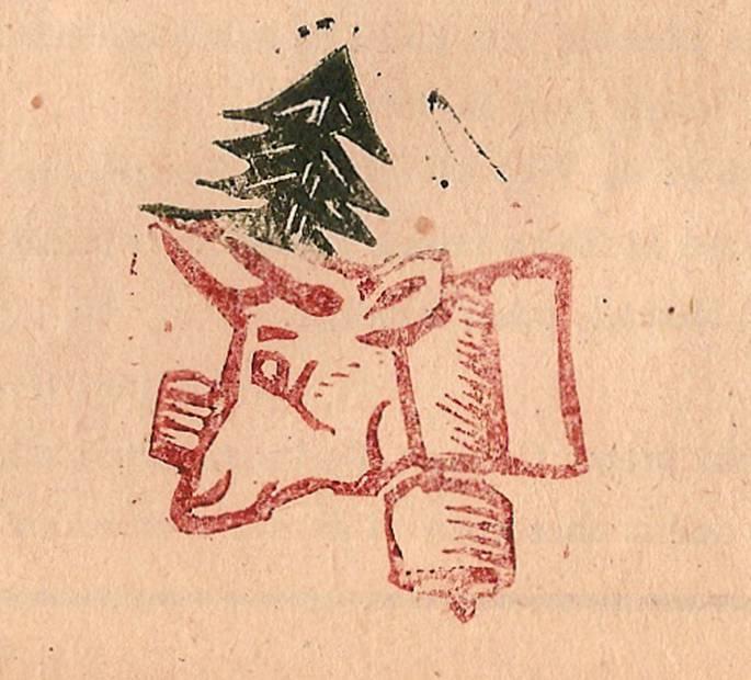 Linogravure du journal scolaire de Passy « Face au Mont-Blanc », octobre 1947, p. 6, Reine du troupeau