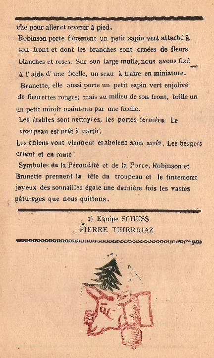 Journal scolaire de Passy « Face au Mont-Blanc », octobre 1947, p. 6, Reines du troupeau, par Pierre Thierriaz