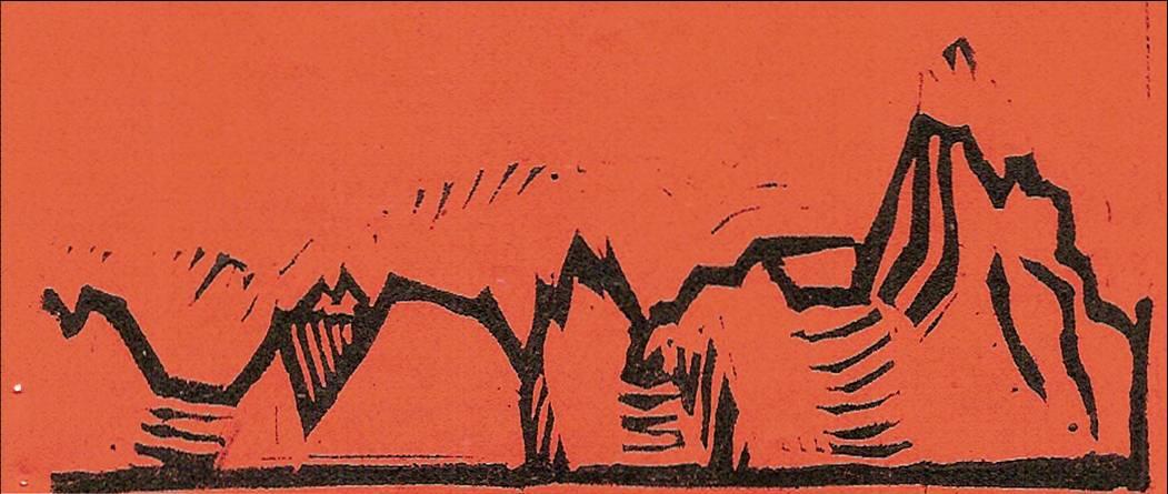 Linogravure du journal scolaire de Passy, « Face au Mont-Blanc », octobre-novembre- décembre 1951, p. 7