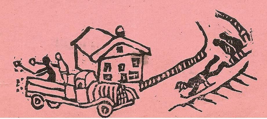 """Linogravure du Journal de Passy-Chedde """"la grande Chute"""", janvier 1952, p. 14"""