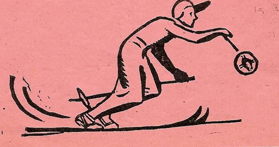 Linogravure du journal scolaire de Passy-Chedde, « La grande Chute», janvier-février 1952, p. 2