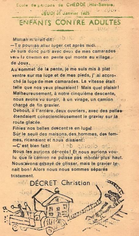 Journal scolaire de Passy, « Face au Mont-Blanc », janvier-février 1952 (dernier numéro retrouvé),  p. 8 Enfants contre adultes, par Christian Décret