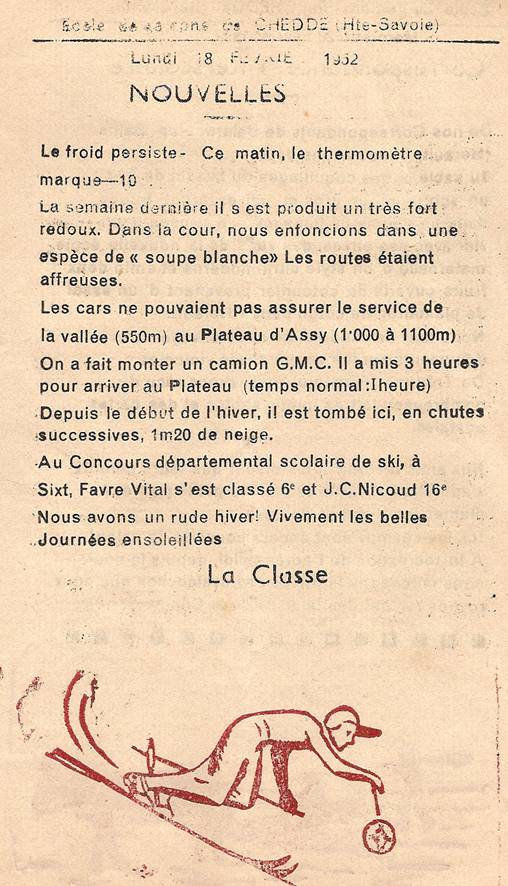 Journal scolaire de Passy, « Face au Mont-Blanc », janvier-février 1952, p. 9 Nouvelles, lundi 18 février 1952