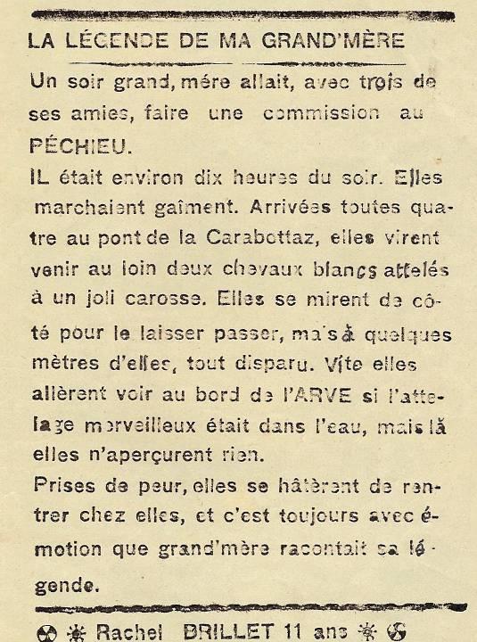 Journal scolaire de Passy, « Face au Mont-Blanc », Janvier 1937, p. 4 La légende de ma grand-mère, par Rachel Brillet, 11 ans