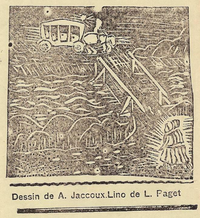 Linogravure du Journal scolaire de Passy, « Face au Mont-Blanc »,  janvier 1937, p. 5, llustrant « La légende de ma grand-mère », dessin d'A. Jaccoux et de L. Paget