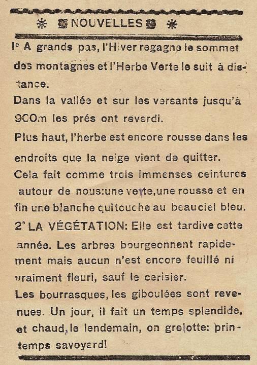 Journal scolaire de Passy, « Face au Mont-Blanc », avril-mai 1937, p. 2 Nouvelles