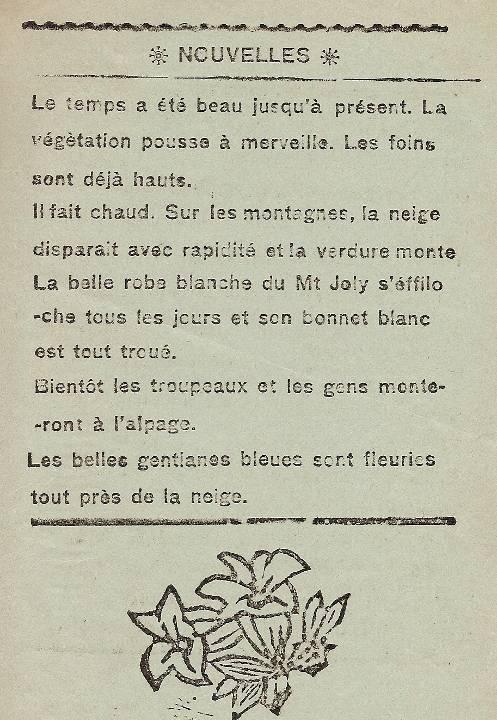 Journal scolaire de Passy, « Face au Mont-Blanc », avril-mai 1937, p. 5 Nouvelles