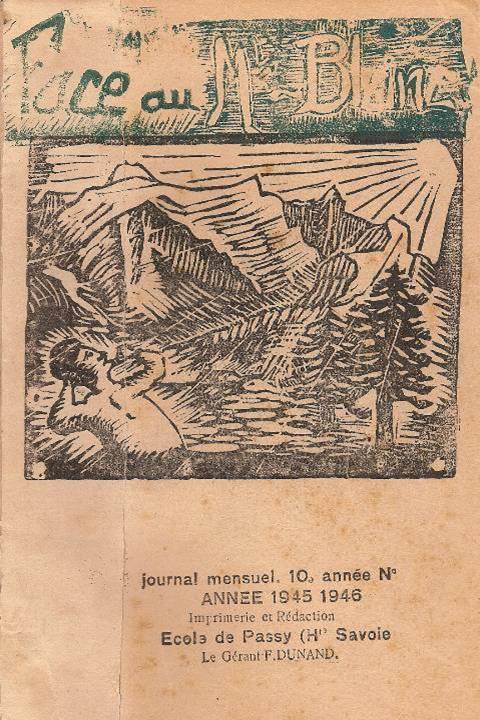 Linogravure du journal scolaire de Passy, « Face au Mont-Blanc », janvier 1946