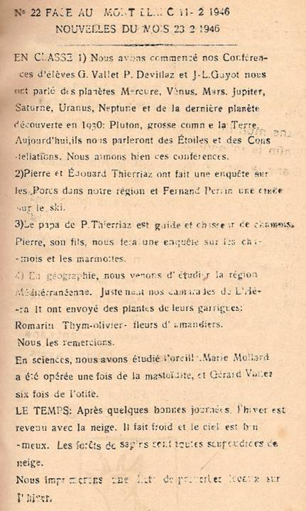 Journal scolaire de Passy, « Face au Mont-Blanc », février 1946, p. 5 Nouvelles du mois 23 février 1946