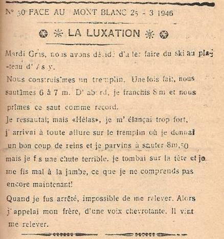 Journal scolaire de Passy, « Face au Mont-Blanc », mars-avril 1946 p. 7 La luxation, par Pierre Thierriaz, 12 ans