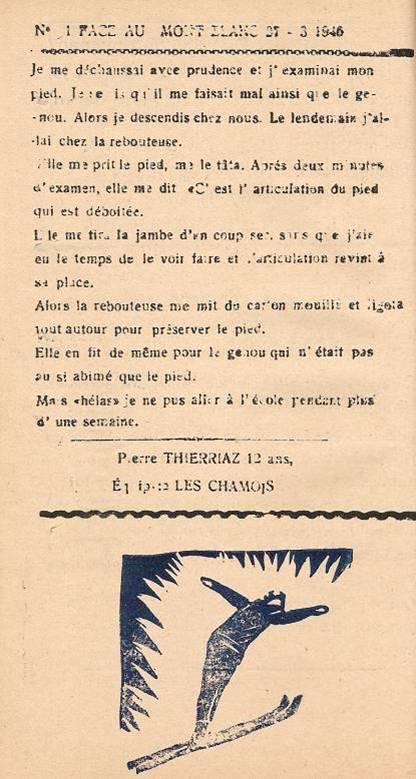 Journal scolaire de Passy, « Face au Mont-Blanc », mars-avril 1946, p. 8 La luxation, par Pierre Thierriaz, 12 ans