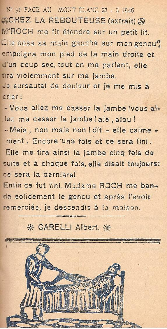 Journal scolaire de Passy, « Face au Mont-Blanc », mars-avril 1946, p. 9 Chez la rebouteuse (extrait), par Albert Garelli