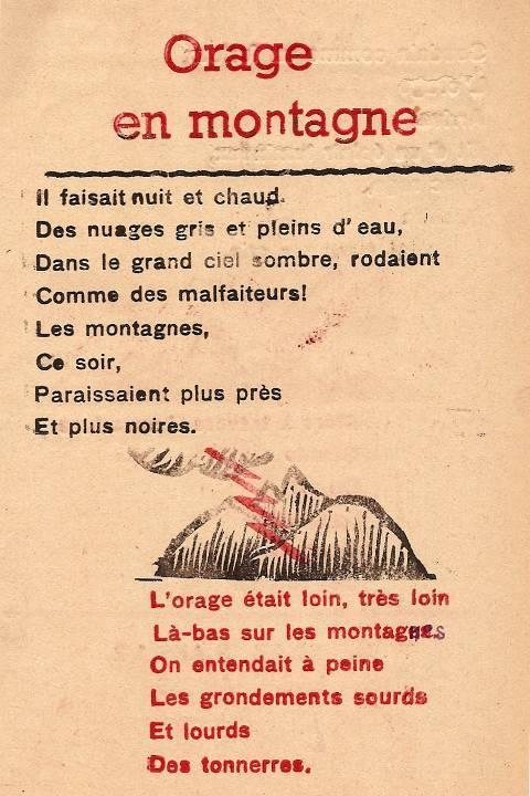 Journal scolaire de Passy, « Face au Mont-Blanc », avril-mai-juin-juillet 1947, p. 13 Orage en montagne, poème par Marie-Thérèse Devillaz, 13 ans ½