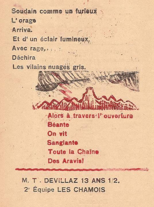 Journal scolaire de Passy, « Face au Mont-Blanc », avril-mai-juin-juillet 1947, p. 14 Orage en montagne, poème par Marie-Thérèse Devillaz, 13 ans ½