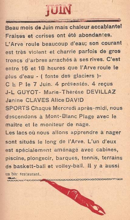 Journal scolaire de Passy, « Face au Mont-Blanc », avril-mai-juin-juillet 1947, p. 18, Juin